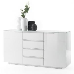 Canberra Sideboard In Glass Top And White Gloss With 4 Drawers