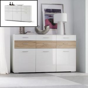 Portland Sideboard In White Gloss And Oak With 3 Door