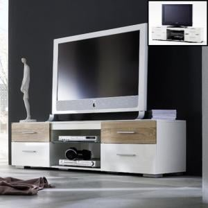 Portland LCD TV Stand In White High Gloss And Oak