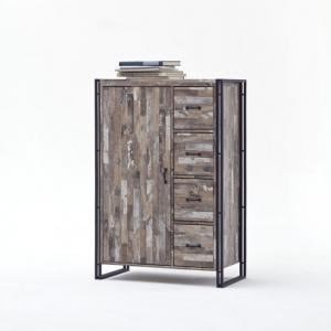 Lydia Vintage Style Highboard In Wooden Effect With 4 Drawers