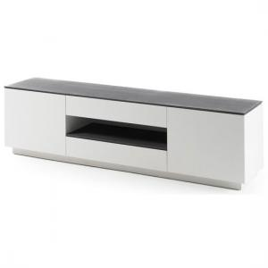 Denzel LCD TV Stand In White Matt And Grey Glass Top
