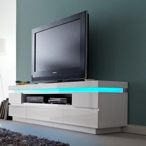 Odessa 5 Drawer Lowboard Tv Stand in High Gloss White With LED