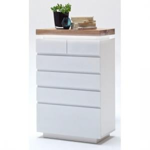 Romina 6 Drawer Chest In Knotty Oak And White Matt With LED
