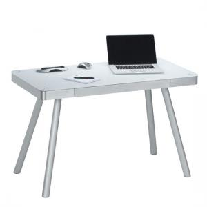 Futura Computer Desk In White Glass Top With Metal Legs