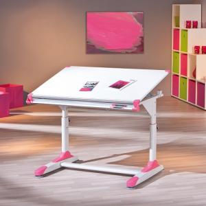 Dexter Children Computer Desk In White With Pink And Green Alter_6