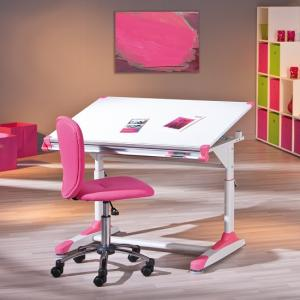 Dexter Children Computer Desk In White With Pink And Green Alter_7