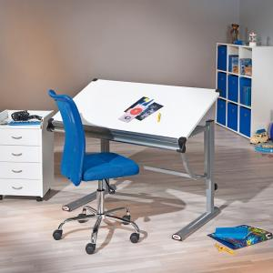Charlie Children Computer Desk In White And Silver Grey Metal_9