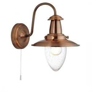 Fisherman Copper Switched Wall Light With Seeded Glass Shade