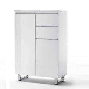 Sydney 2 Door Shoe Cabinet In High Gloss White With 2 Drawers