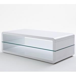 Agatha High Gloss White Coffee Table With Glass Shelf