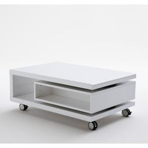 Angela Coffee Table High Gloss White With Pull Out Drawer