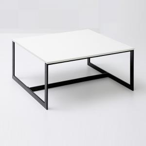 Fluoro Coffee Table Square In Matt White With Black Metal Legs
