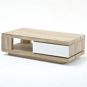 Gloria Coffee Table In Oak With 1 Rotating Drawer In White Front