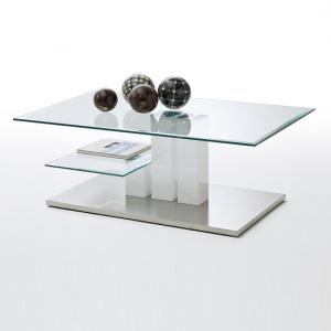Maldon Coffee Table In Clear Glass With Stainless Steel Base