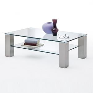 Hemsby Glass Coffee Table Rectangular In Clear With Metal Legs