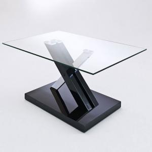 Verena X Black Gloss And Clear Glass Coffee Table