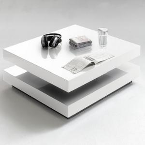 Hugo Square Coffee Table High Gloss White With Twist Top_2