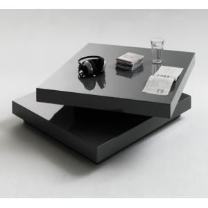 Hugo Square Coffee Table High Gloss Grey With Twist Top