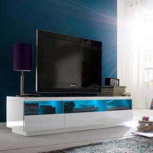 Floyd TV Stand In White High Gloss With 3 Drawers And LED Lights