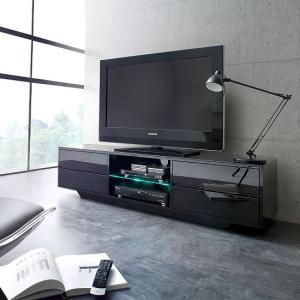 Sienna TV Stand Unit In Black High Gloss With Led Lights