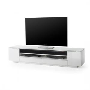 Canberra Contemporary TV Stand In White Glass Top And High Gloss