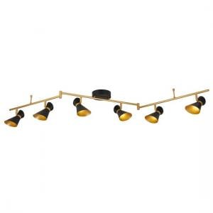 Matt Black And Gold Six Light Diablo Led Spotlight Split-bar