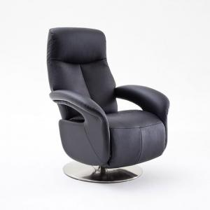 Porto Recliner Chair In Black Leather With Stainless Steel Base