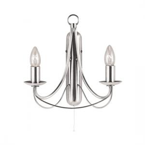 Maypole 2 Light Satin Silver Switched Wall Lamp
