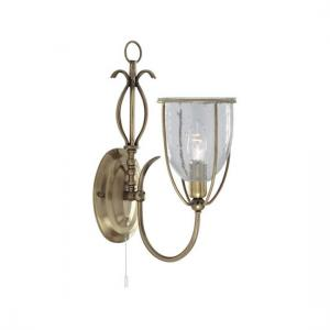 Silhouette Antique Brass Wall Light With Clear Seeded Glass Shad
