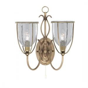 Silhouette Antique Brass 2 Light Wall Bracket With Clear Seeded