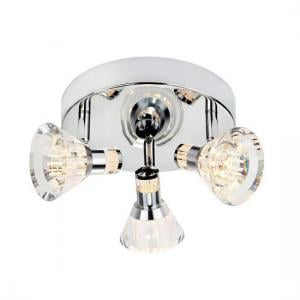 Dimmable  Chrome And Clear Acrylic Shade 3 Light Led Spot Round