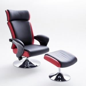 Liam Reclining Chair In Black And Red Faux Leather With Stool_3