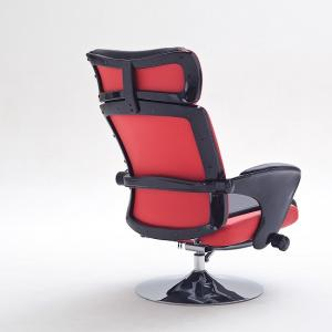 Liam Reclining Chair In Black And Red Faux Leather With Stool_5