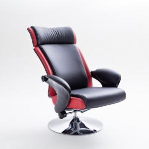 Liam Reclining Chair In Black And Red Faux Leather With Stool_7