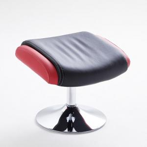 Liam Reclining Chair In Black And Red Faux Leather With Stool_10