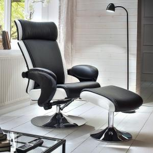 Liam Reclining Chair In Black And White Faux Leather With Stool