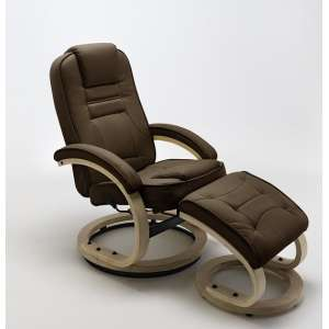 Detroit Swivel Relax Chair Brown Leather And Footstool
