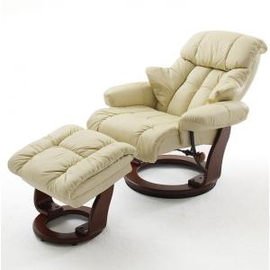 Calgary Swivel Relaxer Chair Leather With Foot Stool In Cream