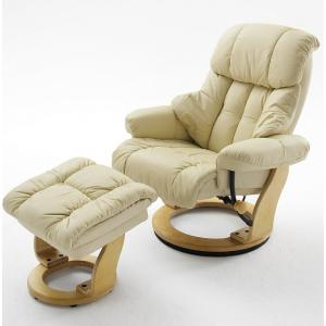 Calgary Swivel Relaxer Chair Leather Cream And Oak And Footstool