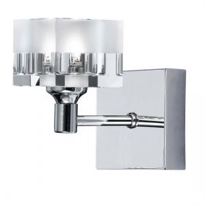 Themis Chrome Wall Lamp With Crystal and Frosted Ice Cube Glass
