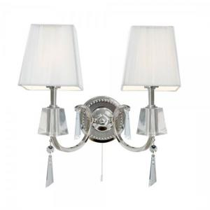 Portico Chrome 2 Light Wall Bracket With Crystal Drops