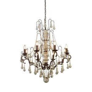 Bessie Rustic Brown Vintage Chandelier In Weathered Wood
