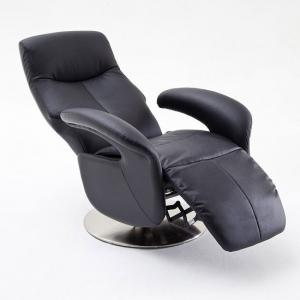 Porto Recliner Chair In Black Leather With Stainless Steel Base_2