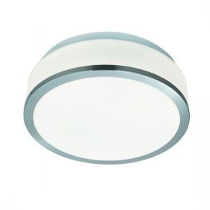 Discs Bathroom Lamp In Opal Glass Shape With Silver Trim