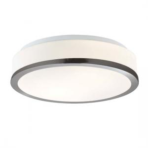 Bathroom Satin Silver Ring Flush Glass Ceiling Light