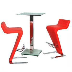 Spice Bar Table In Clear Glass With 2 Farello Bar Stool In Red