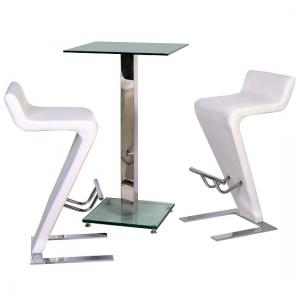 Spice Bar Table In Clear Glass With 2 Farello Bar Stool In White