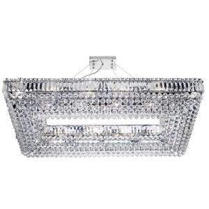 Vesuvius Chrome Rectangle Chandelier With Crystal Coffin Drops
