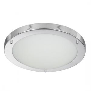 Opal Glass Chrome Silver LED Flush Ceiling Lamp