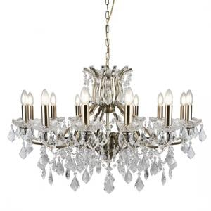 Antique Brass Chandelier In Clear Crystal Drops And Trim